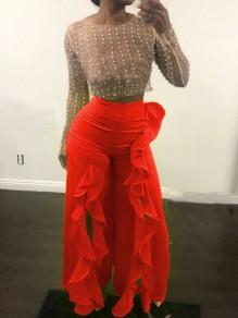 Red Cascading Ruffle Front Slit High Waisted Party Wide Leg Palazzo Long Pant