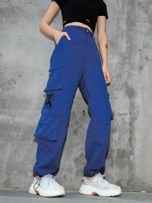 Bleu les poches confortable salopette - pantalon long