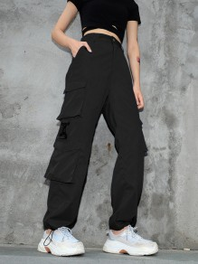Black Pockets Comfy Push Up Dungarees Long Pants