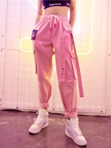 Pink Letter Pockets Drawstring Casual Cargo Boyfriend Jogger Long Pants