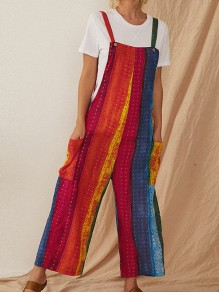 Red Striped Pocket High Waisted Oversize Fashion Long Overall Pants