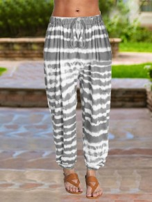 Grey Tie Dyeing Drawstring Pleated Harem Casual Sports High Waisted Long Pant