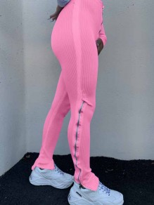 Pink Zipper Stacked Casual Sports High Waisted Bell Bottomed Flares Long Patn