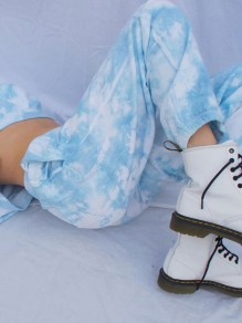 Blue Tie Dye Drawstring High Waisted Boyfriend Long Pants
