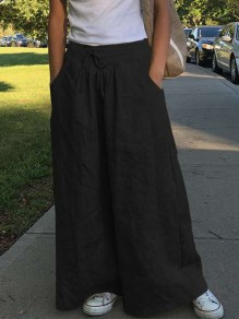 Black Pocket Drawstring High Waisted Elegant Wide Leg Long Pants