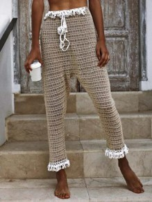 Apricot Tassel Cut Out Drawstring Fishnet High Waisted Crochet Beach Long Pants