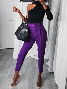Purple Belt Pockets High Waisted Fashion Nine's Pants
