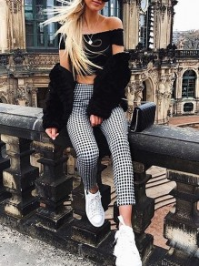 Black Plaid Print High Waisted Fashion Slim Long Pants