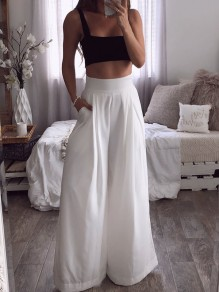 White Pockets Draped High Waisted Fashion Lounge Wear Long Wide Leg Pants