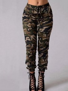 Green Camouflage Bodycon Lace-up Slacks Comfy Ttrendy Streetwear Pants