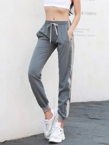 Grey Striped Belt Lace Up Drawstring Waist Mid-rise Going Out Nine's Pants