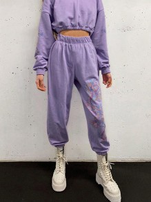 Purple Dragon Print High Waisted Fashion Casual Sport Workout Cargo Jogger Sweat Pants