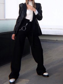 Black Buttons Pockets Mid-rise Wide Leg Palazzo Fashion Cool Cargo Pants