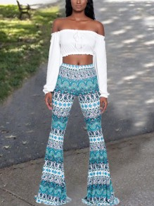 Turquoise Green Tribal Floral High Waisted Ass Boho Palazzo Bell Bottom Long Flare Booty Pants