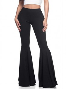 Black High Waisted Fashion Long Bell Bottom Flare Pants