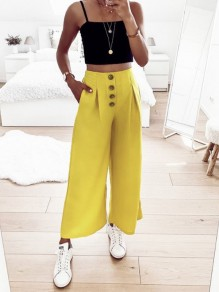 Yellow Buttons Pockets High Waisted Fashion Wide Leg Long Pants