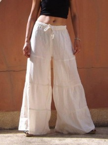 Pantalones largos cordón cintura normal pierna ancha bohemia blanco