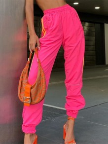 Neon Pink Striped Print Pockets High Waisted Fashion Sport Long Jogger Sweat Pants