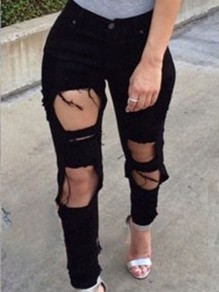 Black Ripped Destroyed High Waisted Vintage Long Jean Pants
