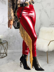 Red Patchwork Tassel High Waisted PU Leather Cowboy Long Pants