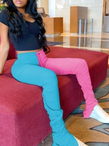 Blue-Pink High Waisted Elastic Waist Sports Ruched Flare Long Pants