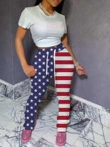 Red-Blue American Flag Print Pockets Drawstring Waist High Waisted Long Flare Pants