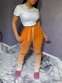Orange Gradient Pockets Drawstring Cut Out Distressed Ripped Pleated Scrunch Casual High Waisted Long Pant