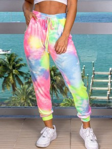 Pink Tie Dyeing Drawstring Pockets High Waisted Harem Casual Sports Long Pant