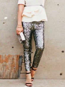 Dark Grey Sequin Sparkly High Waisted Fashion Long Pants