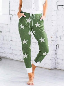 Green Stars Print Drawstring Pockets High Waisted Long Pants