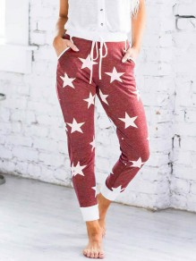 Burgundy Stars Print Drawstring Pockets High Waisted Lounge Wear Long Pants
