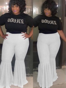 White Draped High Waisted Extreme Flare Bell Bottom Vintage Plus Size Long Pants