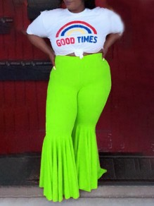 Neon Green Draped High Waisted Extreme Flare Bell Bottom Vintage Plus Size Long Pants