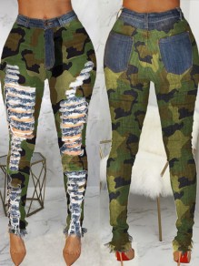 Green Camouflage Print Pockets Buttons High Waisted Ripped Long Jeans