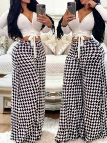 White-Black Houndstooth Pattern High Waisted Wide Leg Long Pants