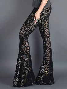 Black Patchwork Geometric Sequin Grenadine Print High Waisted Glitter Sparkly Flare Bell Bottom Long Pants
