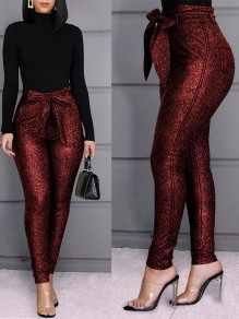 Red Patchwork Sequin Belt Lace-up High Waisted Glitter Sparkly Christmas Long Pants