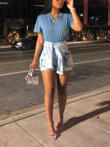 Light Blue Pockets Sashes High Waisted Ripped Destroyed Distressed Casual Denim Shorts