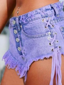 Purple Patchwork Tassel Pockets Buttons Drawstring High Waisted Short Hot Jeans