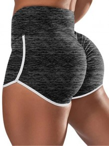 Black Pleated Push Up High Waisted Plus Size Yoga Sports Shorts