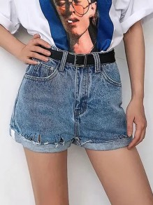 Cichic Hellblau Taschen Destroyed Ripped High Waisted Kurze Jeans Shorts Hotpants Damen Mode