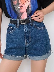 Cichic Dunkelblau Taschen Destroyed Ripped High Waisted Kurze Jeans Shorts Hotpants Damen Mode