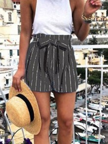 Black Striped Print Sashes High Waisted Loose Fashion Shorts