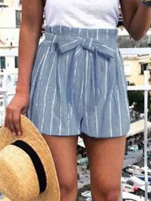 Blue Striped Print Sashes High Waisted Loose Fashion Shorts