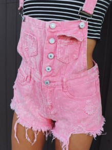 Pink Shoulder-Strap Pockets Square Neck Ripped Destroyed Short Bubblegum Overall Jeans