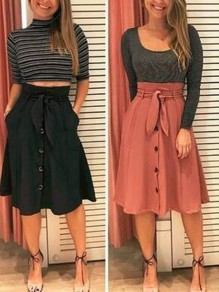 Black Buttons Pockets Sashes High Waisted Fashion Skirt