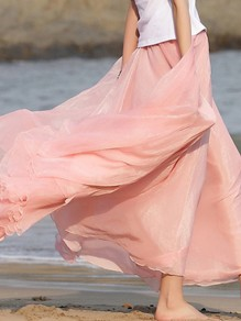 Pink Pleated High Waisted Grenadine Ruffle Fluffy Puffy Tulle Beach Vacation Skirt