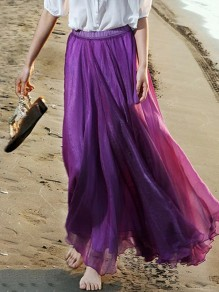 Violet Flowy Pleated High Waisted Grenadine Ruffle Fluffy Puffy Tulle Bohemian Beach Vacation Maxi Skirt
