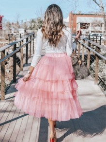 Pink Pleated Grenadine Cascading Ruffle High Waisted Party Long Tulle Tutu Cake Skirt