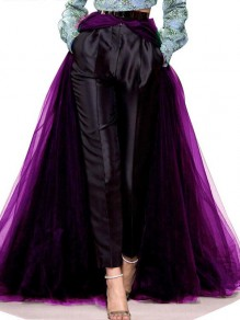Purple Grenadine Belt Slit High-low Swallowtail Wedding Banquet Party Long Skirt